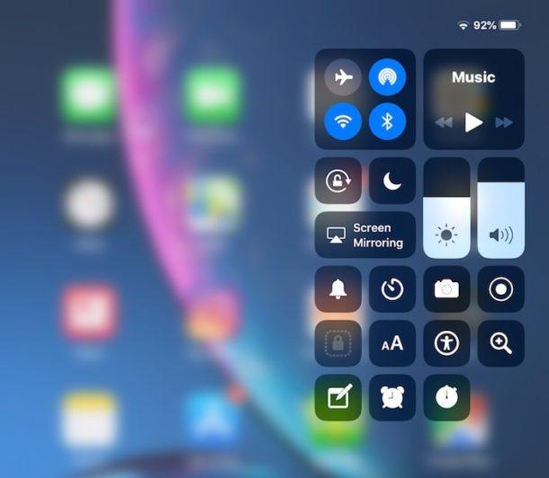 كيفية الوصول إلى مركز التحكم في iOS 12 على الايباد و الايفون