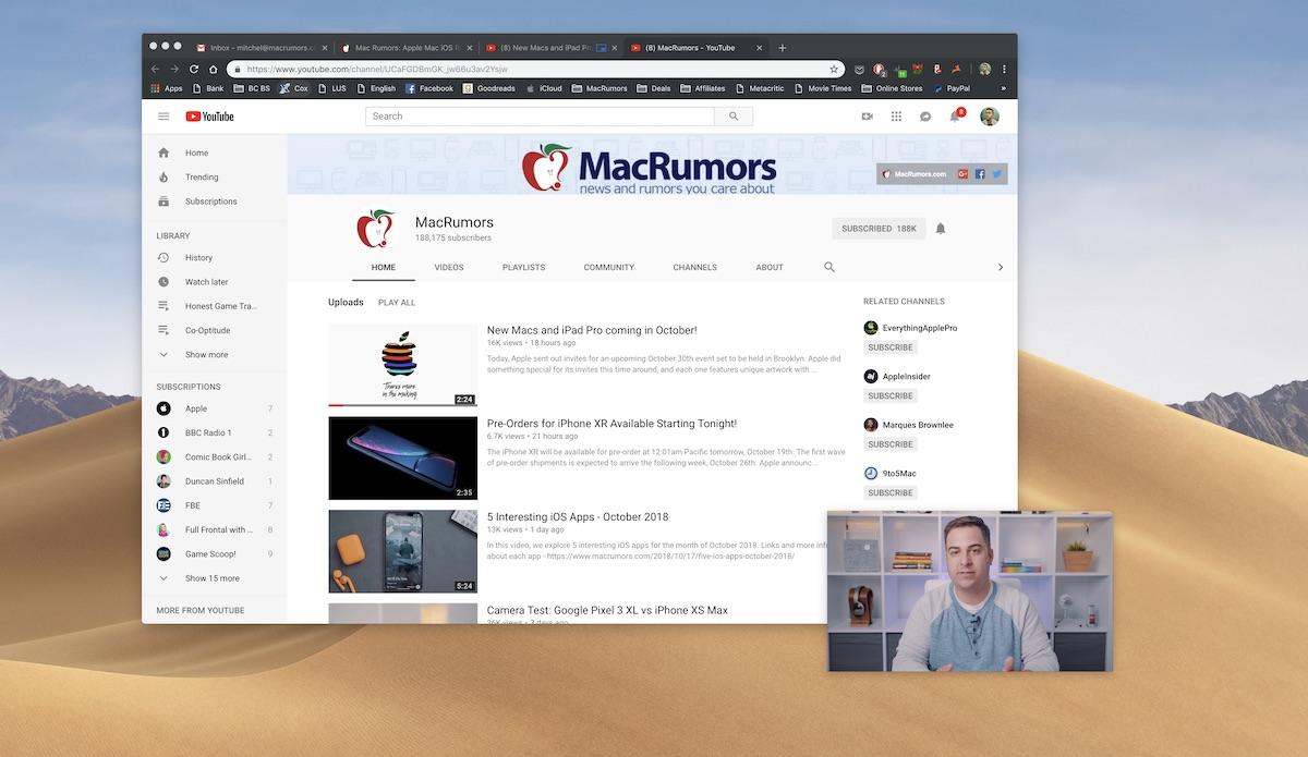 """متصفح Chrome 70 يدعم ميزة """"صورة داخل صورة"""" على الماك"""